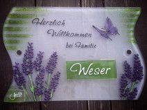 """Türschild / Namenschild aus Glas """"Lavendel"""""""