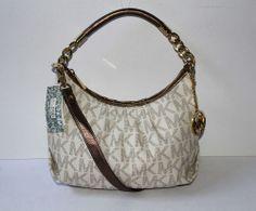 $198 Michael Kors Erin Vanilla MK Logo PVC MD Shoulder Bag
