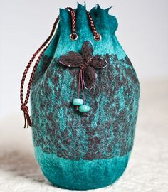 Turquoise Nuno felted Bag Purse and Butterfly Brooch Pin