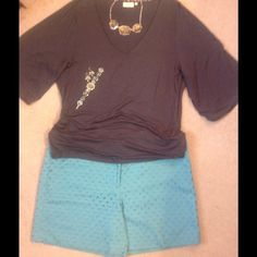 Super Cute Eyelet Shorts! NWT! Loft eyelet shorts in a dark shade of turquoise. Perfect for your summer!  6 inch inseam. LOFT Shorts