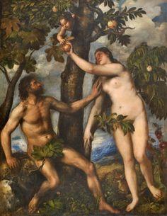 Titian (Tiziano Vecellio), c.1485/90?–1576, Italian, Adam and Eve, c.1550. Oil on canvas, 240 x 186 cm. Museo del Prado, Madrid. Mannerism.
