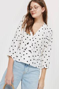55188d2efeb Spot Print Button Down Top - Shirts  amp  Blouses - Clothing - Topshop USA  Minimalist
