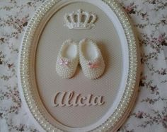 Porta maternidade sapatinho de pérolas