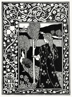 Project for an ex-libris.  From A collection of book plate designs, by Louis Rhead, Boston, 1907.    (Source: archive.org)