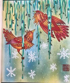 "After quite a long break from colouring...❤️❤️ ""fire bird in ice cave"" #tidevarv #hannakarlzon #prismacolor #poscapen #ilovecolouring #ilovecoloring #mycolouringcorner"