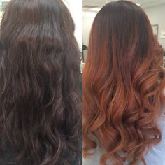 Dark brown auburn ombre