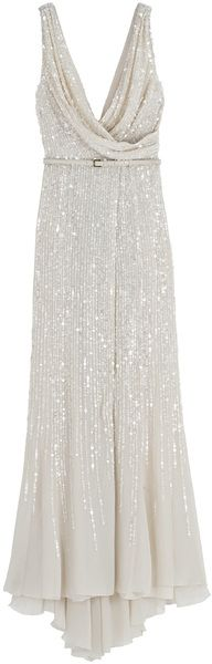 Wrap Cowl Sequin Gown by Elie Saab
