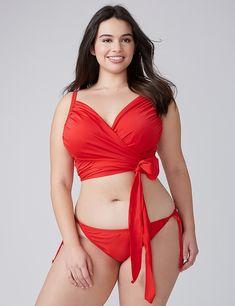 f9a3606bc78 Wrap Longline Swim Bikini Top with Built-In Plunge Bra