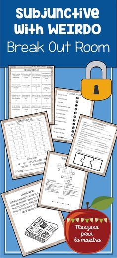 Subjunctive with WEIRDO break out escape room for the Spanish class, lesson plan activity game el subjuntivo, five puzzles to solve spanish III Spanish IV