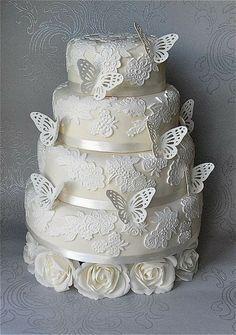 tortas de 2 pisos con mariposas para Bautizo - Buscar con Google