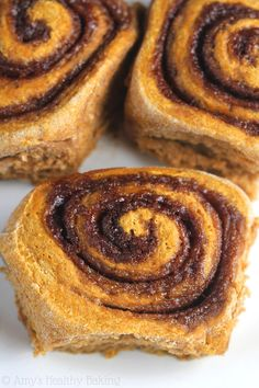 Pumpkin Cinnamon Rolls -- a lightened up version with almost NONE of ...