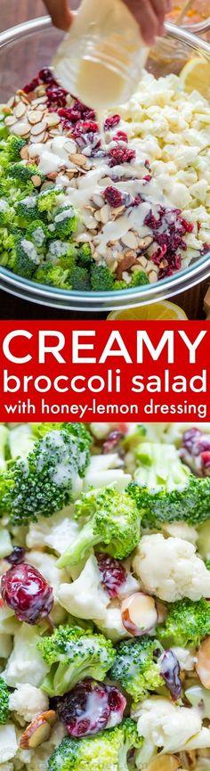 Creamy broccoli salad always gets rave reviews. Every bite of this creamy broccoli salad is coated in a honey-lemon dressing. Crisp, crunchy, chewy, tasty! | natashaskitchen.com
