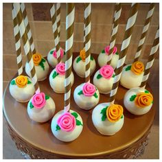Pink and Gold Cake Pops with Edible Rose
