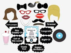 Have a blast at your 50s theme party with these printable photo booth props. Upon payment, youll receive 13 8.5 x 11 PDF pages of props that