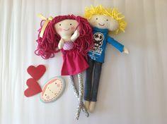 Blonde, pink, hair, rag doll, muñeca de trapo
