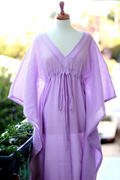 Lavender Caftan Maxi Dress  Beach Cover Up  by mademoisellemermaid, $68.00