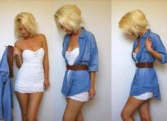 vestido brando tomara que caia + camisa jeans fina + cinto nada que uma boa combinação de peças de roupas para resultar em um look casual e elegante