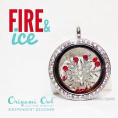 I love this look with the red stardust crystals! #FireAndIce #RedCrystals #Snowflake #WinterJewelry #OrigamiOwl