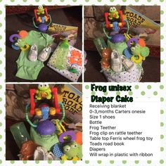 Unisex frog diaper cake Receiving blanket  0-3,months Carters onesie  Size 1 shoes Bottle Frog Teether Frog clip on rattle teether  Table top Ferris wheel frog toy Toads road book Diapers Will wrap in plastic with ribbon Other