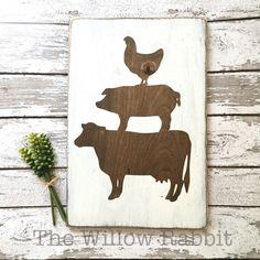 Farmhouse Animals Kitchen Decor Wood Sign use stencils to paint over on barnwood Pallet Crafts, Wooden Crafts, Wooden Diy, Wooden Signs, Farmhouse Kitchen Signs, Farmhouse Decor, Kitchen Decor, Teal Kitchen, Farmhouse Windows