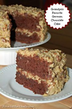 German Chocolate Cake recipe and this delicious frosting recipe are both easy and the best! This recipe made from scratch is delicious. Your guests will ask for the recipe. Frosting Recipes, Cake Recipes, Dessert Recipes, Just Desserts, Delicious Desserts, Chocolate Desserts, German Chocolate Cake Frosting, German Chocolate Brownies, Let Them Eat Cake