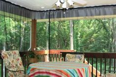 Mosquito netting curtains and no-see-um netting curtains - we installed these on our back porch 3 years ago and we love them! They have given us back our porch during the mosquito invasion called summer in Michigan. Easy to put up take down.