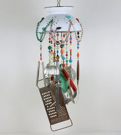 Garden Chime, Patio Decor, Recycled Sun Catcher, Windcatcher, Upcycled Mobile, Garden Whimsy, Art Mobile, Faux Chandelier, Beaded Wind Chime...