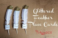 PARTYLISS: DIY Glittered Feather Place Cards