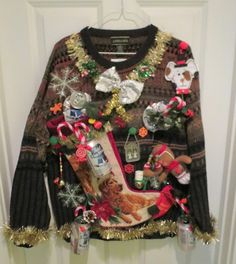 Hilarious Hillbilly Beer Can Decorations Ugly Christmas Sweater Mens L Lightup | eBay