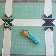 Step 8 star sashing: Next I like to sew the horizontal sashing strips together. Then I sew the vertical strips in between my quilt blocks. Finally I assemble the rows like normal. #patrioticquilt #farmgirlvintage #oldgloryblock #simplestarblock #quilting #starsashing #fqsfun #bonnieandcamille #showmethemoda #quilttutorial #sewingtutorial