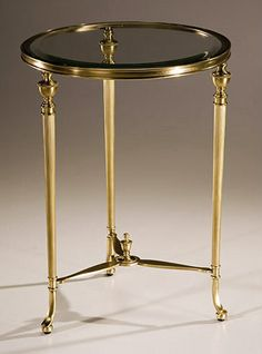 Round antique solid brass occasional table with ribbed urn motif legs