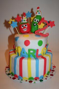 Veggie Tales Birthday Cake — Children's Birthday Cakes a bill Veggie Tales Cake, Veggie Tales Birthday, Veggie Tales Party, Diy Birthday Cake, 2nd Birthday Parties, Birthday Ideas, Dinosaur Cake, Little Girl Birthday, Dessert Decoration