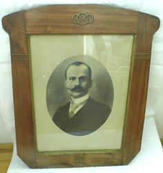 33ʺ Extra Large 1920s Antique Framed Portrait of Man with Mustache Black & White Photo Vintage Picture Frame by WoodHistory on Etsy