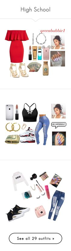 """""""High School"""" by qveenbaddie1 ❤ liked on Polyvore featuring Soprano, Chinese Laundry, MAC Cosmetics, Victoria's Secret, J.TOMSON, Freaker, tarte, Jeffree Star, Morphe and Too Faced Cosmetics"""