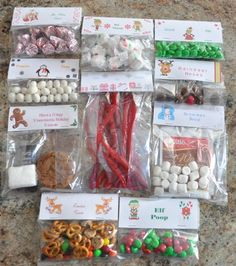 Christmas Treat Bag Ideas: Ten Creative Examples that you can put together in less than 15 minutes and cost less than $1.00 each.