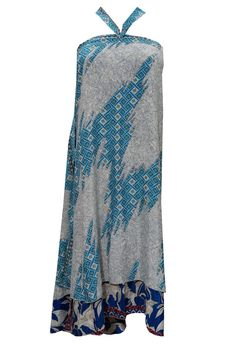 WOMEN'S GYPSY SILK SARI SKIRT WRAP BLUE FLORAL PRINTED HIPPIE BOHO SKIRTS #mogulinterior #WrapSarong