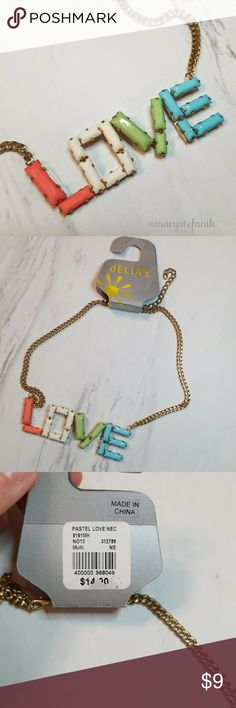 """{New} NWT """"Love"""" Gold Color Necklace {New} NWT """"Love"""" Gold Color Necklace. New with tags. Very cute! Please let me know if you have any questions! Happy Poshing! delias Jewelry Necklaces"""