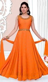 Orange Color Satin Embroidered Anarkali Suit #anarkalistyle #anarkalisuitforkidsIt's time for you to hypnotize and instill awe in everyone as you dress this orange color satin embroidered Anarkali suit. This pretty dress is showing some unbelievable embroidery done with lace, patch and resham work USD $ 151 (Around £ 104 & Euro 115) .