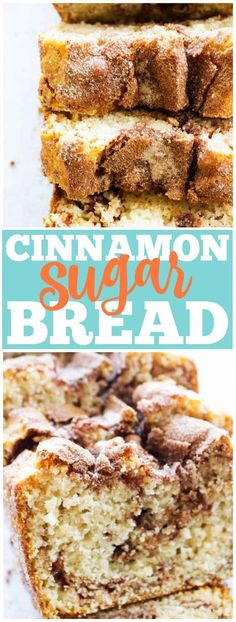 CINNAMON SUGAR BREAD is like eating a cinnamon & sugar cake donut but better. Easy & delicious this bread is ready to devour in an hour. #cinnamon #bread #adashofsanity #quickbread