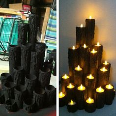 Made from paper towel tubes, card board, then paint and add candles More