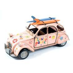 Miniatuur Citroën flower power - Wanddecoratiestore.nl - Stijlvolle & Betaalbare Wanddecoratie