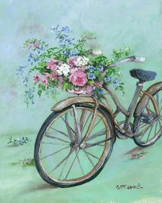 PRINT ON PAPER - Romantic Vintage Bike - FREE Shipping WORLD WIDE