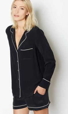 Because one of your old T-shirts is good, but a full pajama set in sumptuous silk is a whole lot better.  Lillian pajama set ($368) by Equipment, equipmentfr.com