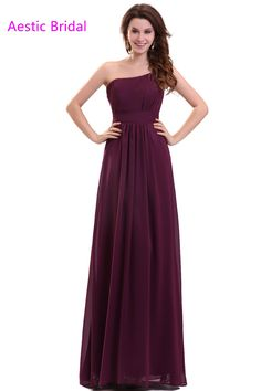 >> Click to Buy << Grape One Shoulder Chiffon  A Line Bridesmaid Dress Long Robe Demoiselle D'Honneur Wedding Guest Dresses #Affiliate