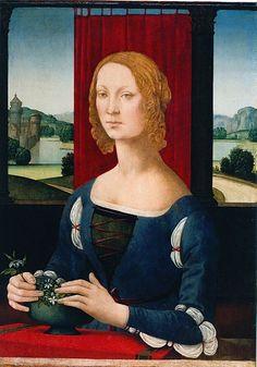 Caterina Sforza Lady of Imola and Forli, illegitimate daughter of Galeazzo Sforza and Lucrezia Landriani, by Lorenzo di Credi,1481-83