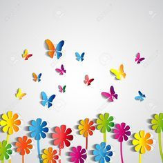 Find Abstract Paper Flowers Background Paper Butterflies stock images in HD and millions of other royalty-free stock photos, illustrations and vectors in the Shutterstock collection. Thousands of new, high-quality pictures added every day. Decoration Creche, Class Decoration, School Decorations, Kids Crafts, Diy And Crafts, Arts And Crafts, Diy Paper, Paper Art, Paper Crafts
