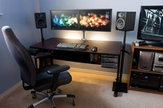 clean minimal computer station setup with dual monitors