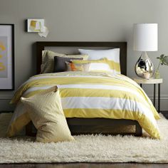 Perfect yellow and white striped duvet for my bedroom!