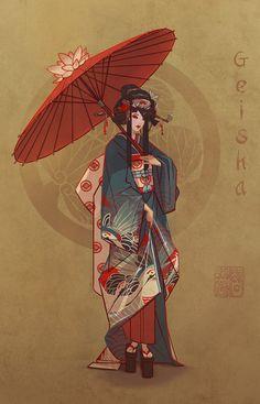 ArtStation - Feudal Japan: The Shogunate - Character Design Challenge, Servane Altermatt Fantasy Character Design, Character Concept, Character Inspiration, Character Art, Concept Art, Geisha Kunst, Geisha Art, Japanese Characters, Japan Art