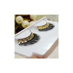 1 Pair Gold Sequins Crystal Thick False Eyelashes Individual Charm... ($5.14) ❤ liked on Polyvore featuring beauty products, makeup, eye makeup, false eyelashes and white